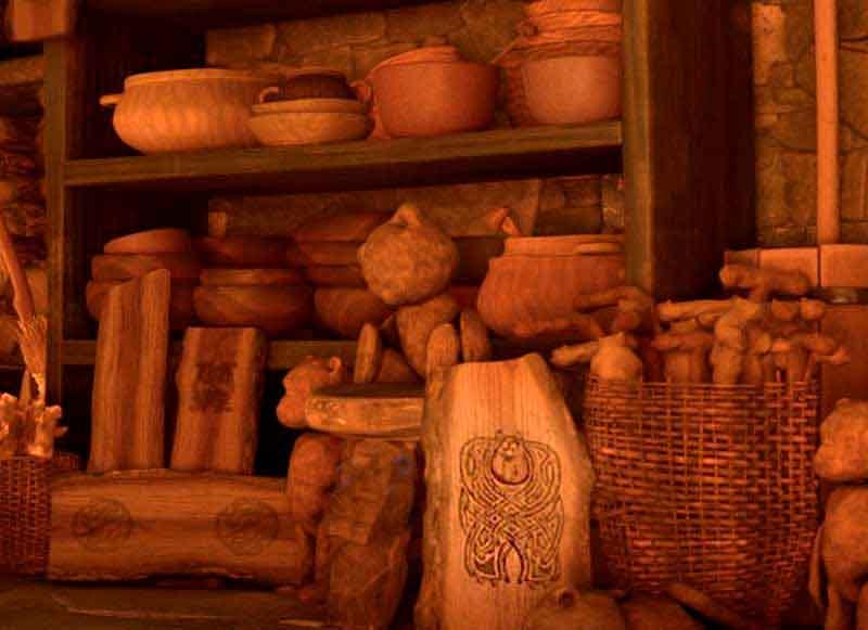 Grabado de Sully en la cabaña de la bruja de Brave