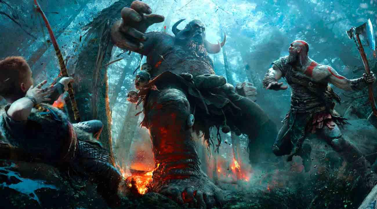 Kratos luchando contra dioses nórdicos de Escandinavia