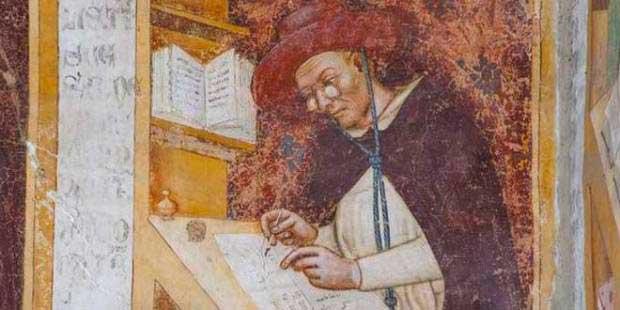 Retrato del Cardenal Hugo de Provenza leyendo en su escritorio