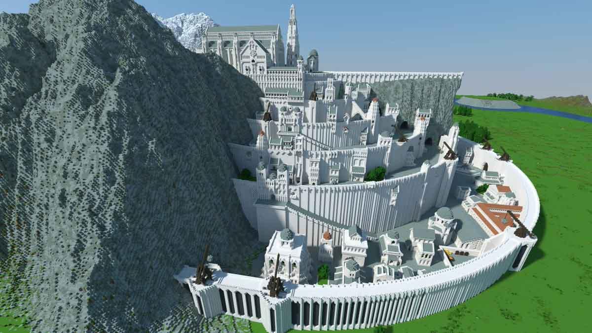 Reproducción en Minecraft de Minas Tirith, uno de los escenarios más icónicos de la trilogía El Señor de Los Anillos