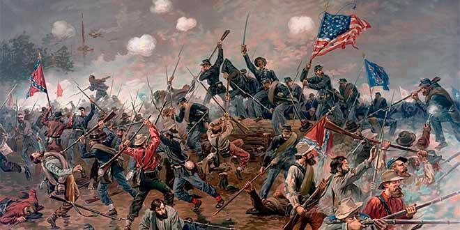 Representación de la batalla de la Spotsylvania en el marco de la Guerra de Secesión americana