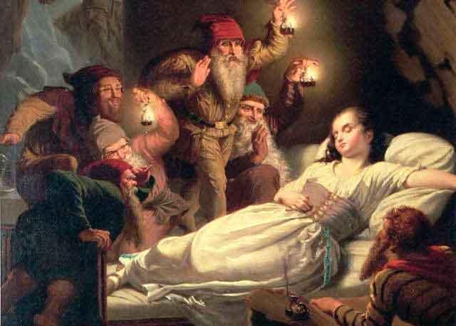 Ilustración de Blancanieves con los siete enanos
