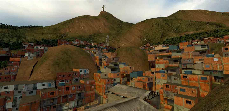 Escena de Counter Strike en la que se muestran las favelas de Brasil