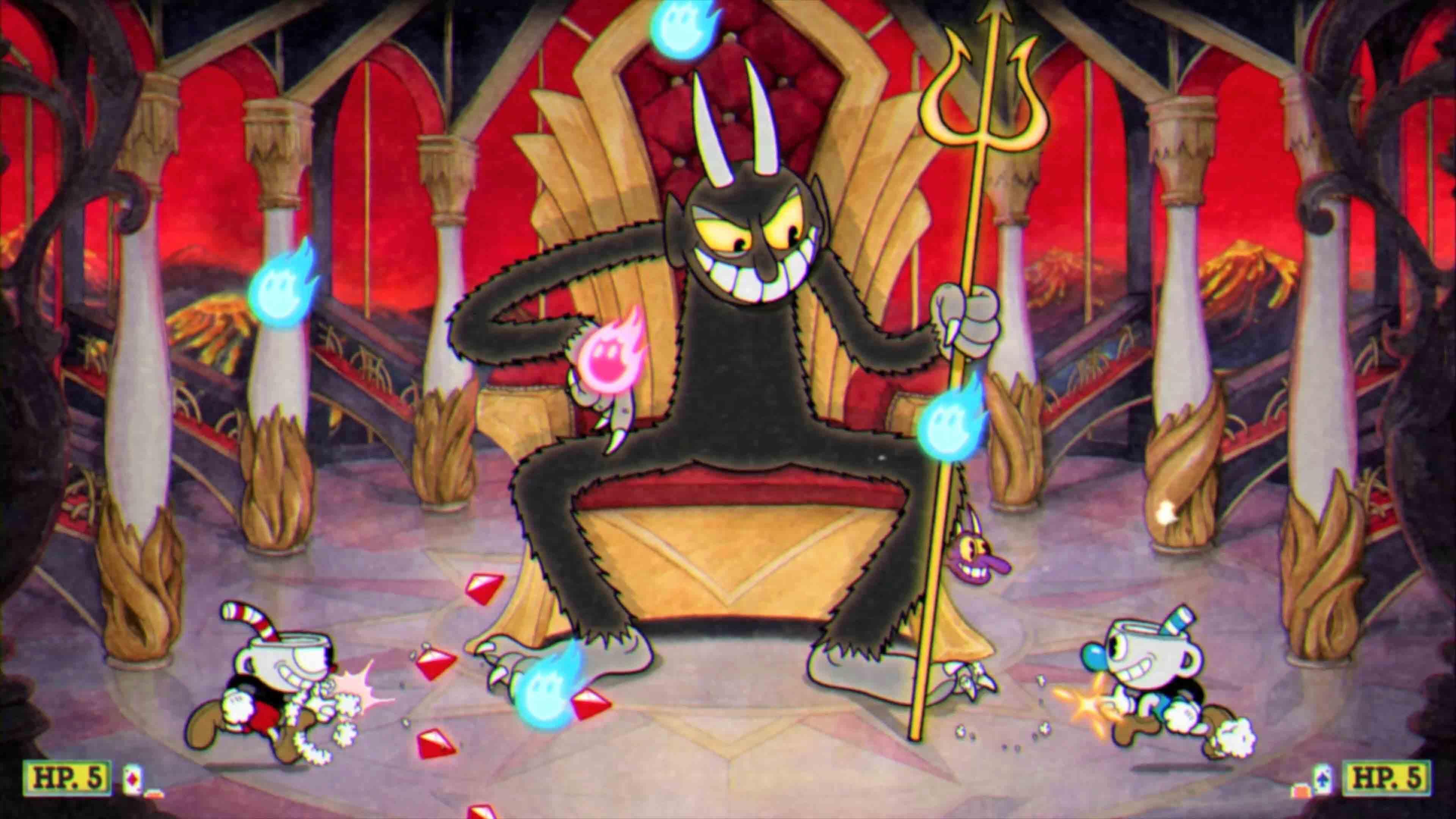 Escena de Cuphead con el diablo, Cuphead y su hermano