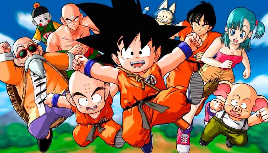 Goku junto a los personajes principales de Dragon Ball