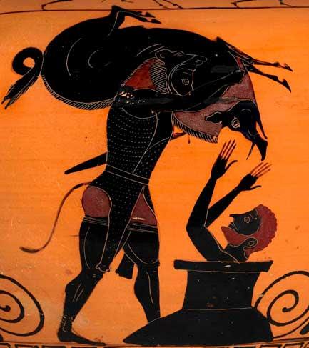 Reproducción de la escena en la que Hércules presenta el jabalí de Erimanto al Rey Eurystheus en un jarrón
