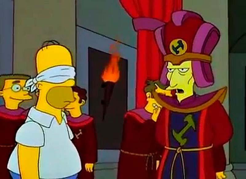 Escena del capítulo de Los Simpson de los canteros, referencia a la masonería