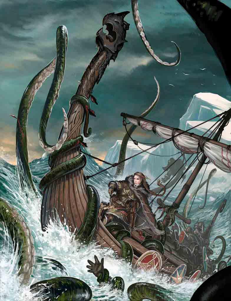 Ilustración del Kraken atacando un barco vikingo