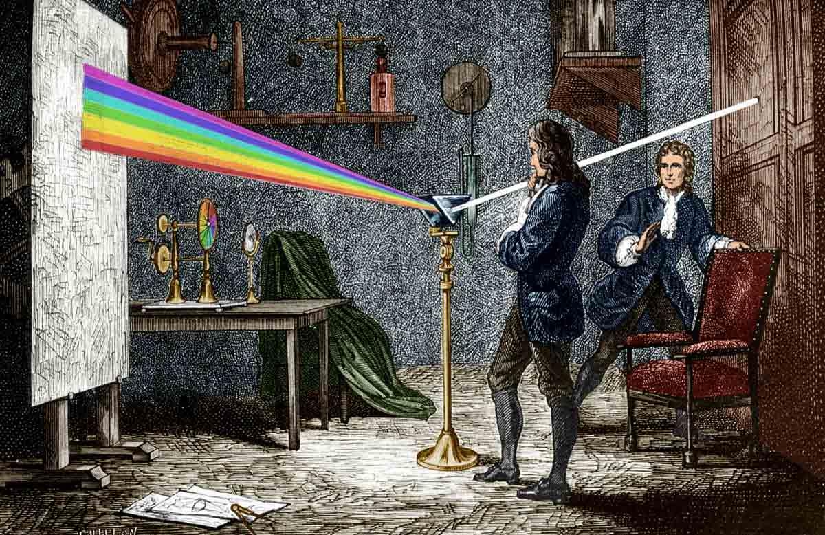 Isaac Newton estudiando el espectro de luz