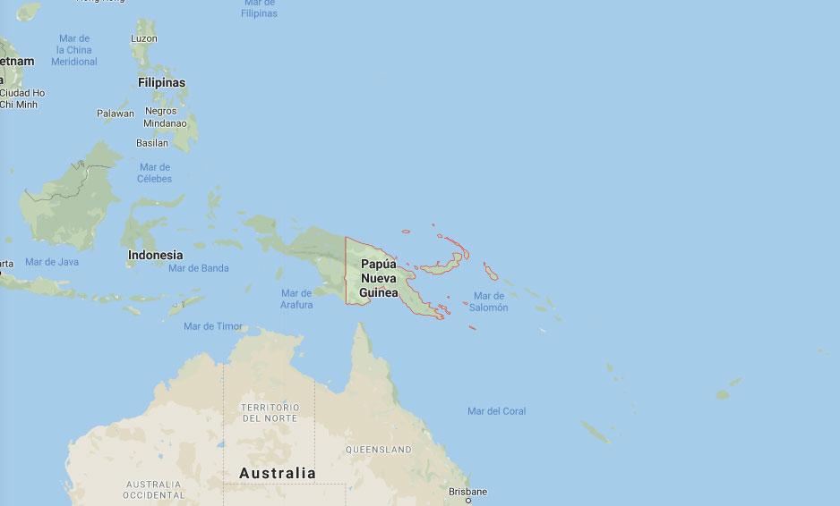 Mapa de Papúa Nueva Guinea y las islas del Pacífico en Oceanía