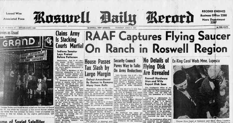 Portada del periódico de Roswell del 8 de julio de 1947