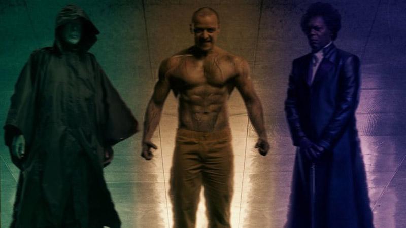 Personajes de Glass. Bruce Willis como el héroe, Samuel L. Jackson como el villano y James McAvoy como una dualidad entre el bien y el mal
