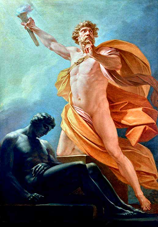 Pintura que representa a Prometeo entregando el fuego a los hombres
