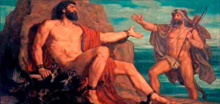 Ilustración de Hércules liberando a Prometeo de las garras del águila