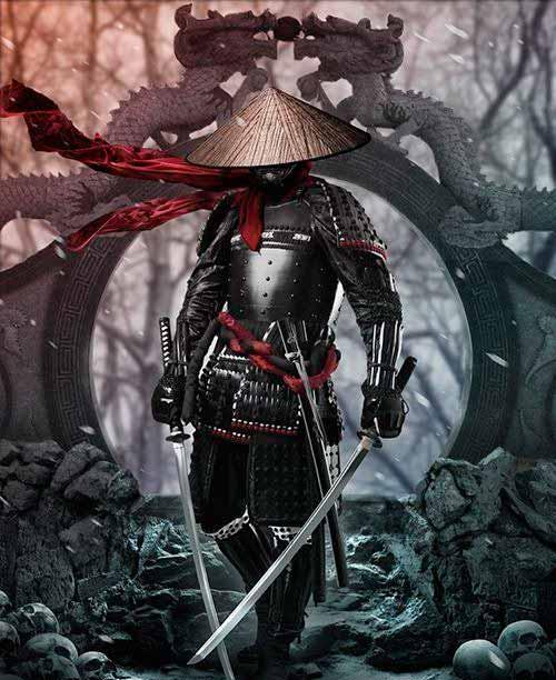 Samurai con su katana