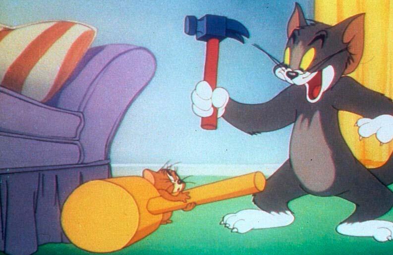 Escena de Tom y Jerry en su etapa inicial liderada por Hanna y Barbera