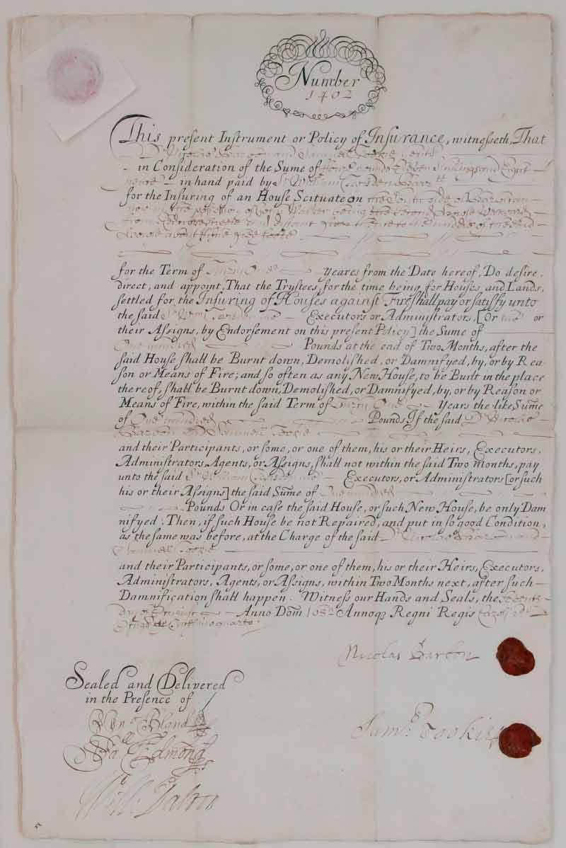 Uno de los documentos de la aseguradora Oficina de Incendios