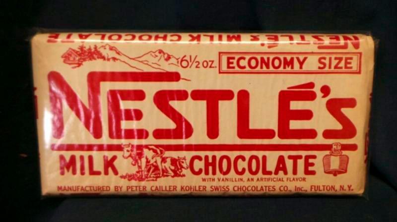 Una de las primeras presentaciones de chocolate con leche en barra de Nestlé