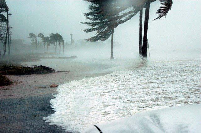 Vientos huracanados en una playa