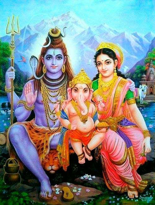 Ganesha con Shiva y Parvati