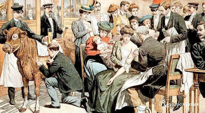 Ilustración de la vacunación masiva contra la viruela