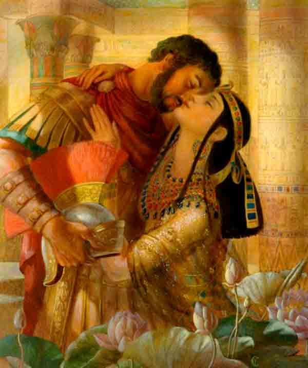 Representación de Cleopatra con Marco Antonio