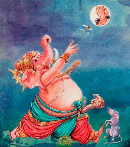 Representación de Ganesha lanzándole el colmillo a la Luna