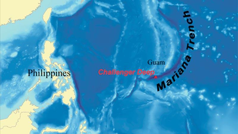 Ubicación de la fosa de las Marianas
