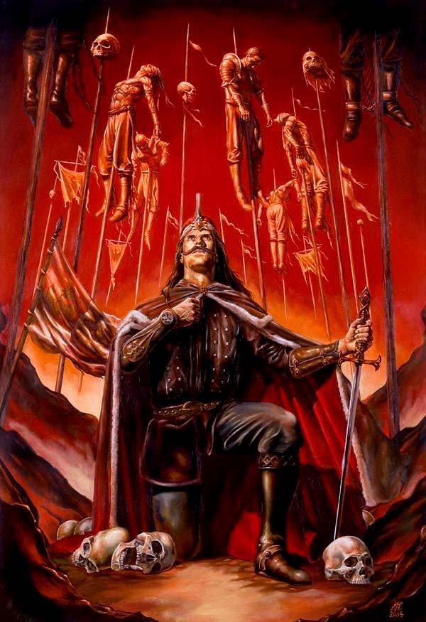 Ilustración de Vlad el Empalador venerando su obra macabra
