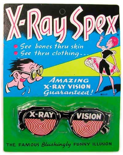"""Gafas """"con visión de rayos X"""" a la venta en su momento, que evidentemente nunca tuvieron tales propiedades"""