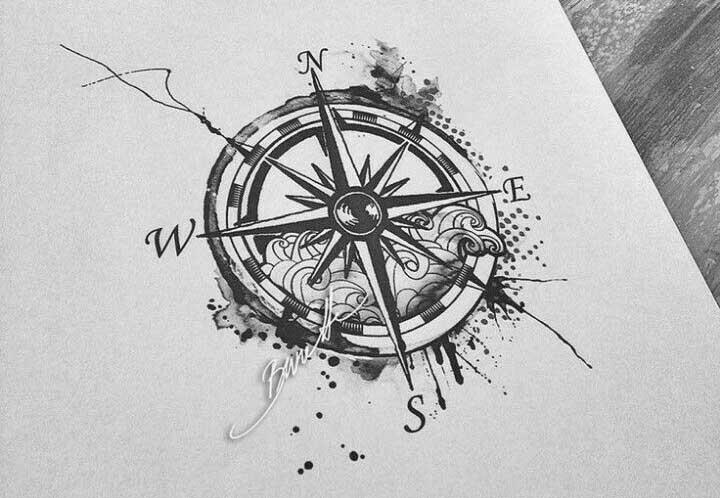 Diseño artístico de la rosa de los vientos