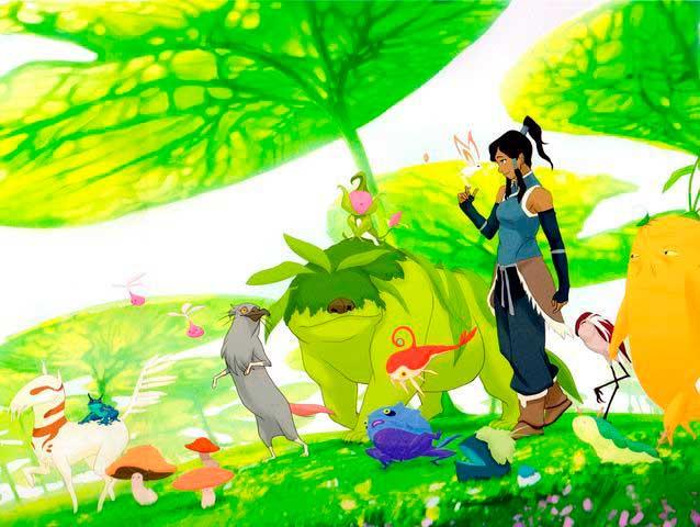 Avatar Korra, protagonista de la serie secuela, en el mundo espiritual