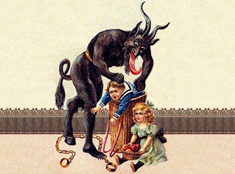 Representación tradicional de Krampus llevándose a unos niños