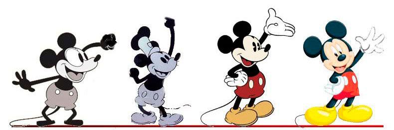 La evolución de la apariencia de Mickey Mouse