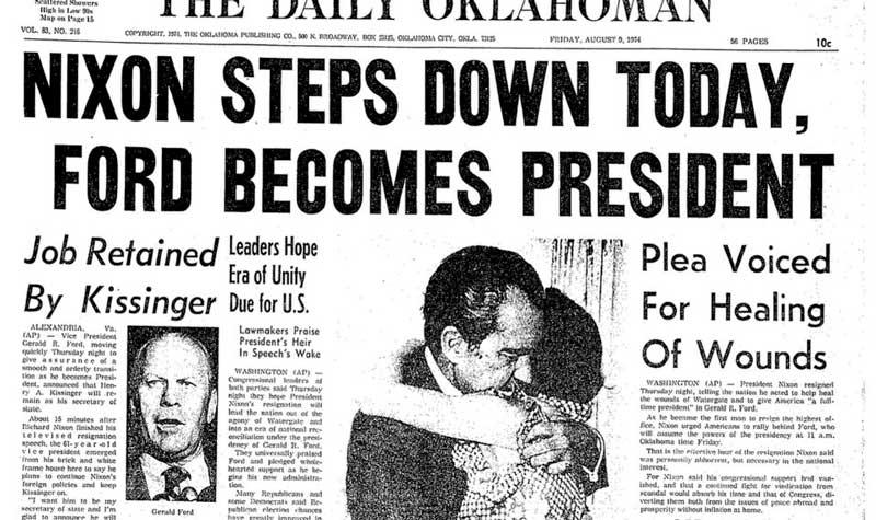 Anuncio en prensa de la renuncia del presidente Nixon