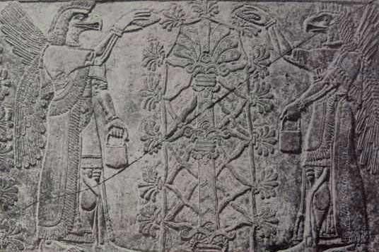 Representación de los Anunnaki con lo que algunos interpretan como el código genético humano