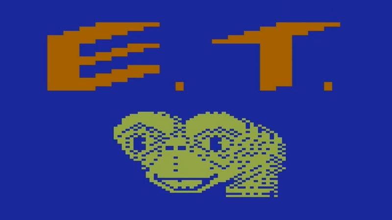 Pantalla inicial del videojuego E.T. de Atari