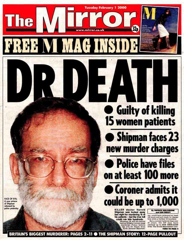 Portada del diario The Mirror del 1 de febrero del año 2000