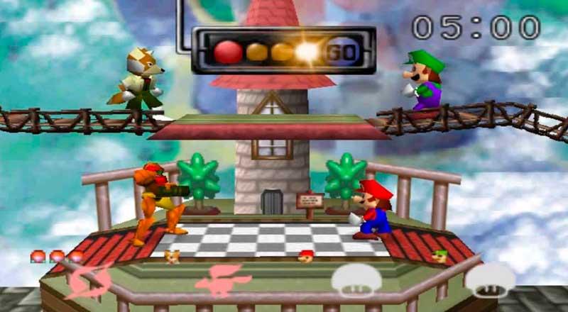 Pantalla del primer juego Super Smash Bros. de 1999
