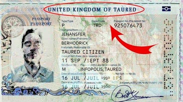 Reproducción del supuesto pasaporte del hombre de Taured