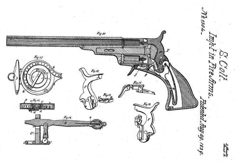 Revólver Colt desarmado con el detalle de las piezas