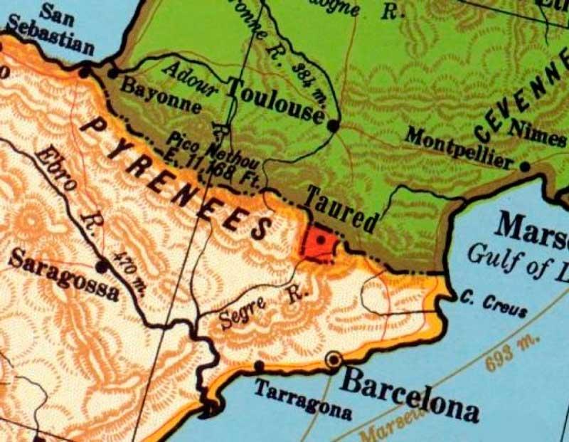 Supuesta ubicación de Taured en el mapa. Área donde se encuentra el Principado de Andorra