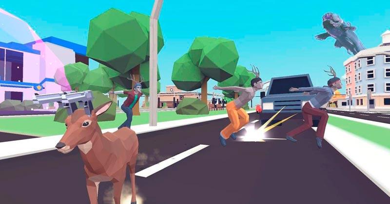 Escena del videojuego con el ciervo portando armas en vez de cuernos