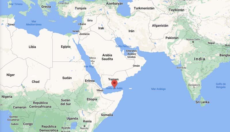 Ubicación en el mapa del Golfo de Adén