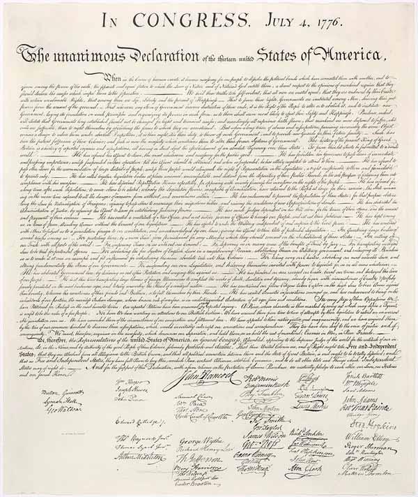 Facsímil de la versión manuscrita de la Declaración de Independencia