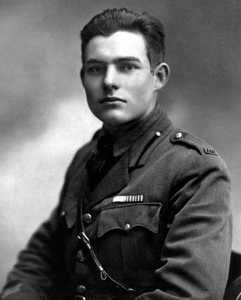 Hemingway de joven, durante la I Guerra Mundial