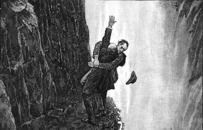 Ilustración de la muerte de Sherlock Holmes