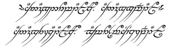 Inscripción del poema de los Anillos de Poder en el Anillo Único, en Lengua Negra antigua
