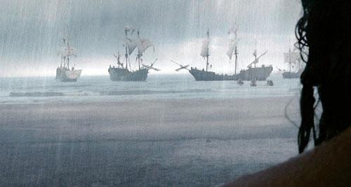 La llegada de los españoles al final de la película
