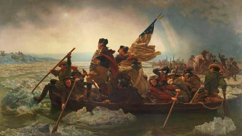 Pintura de Emanuel Gottlieb Leutze que representa a George Washington cruzando el río Delaware para reconquistar Nueva York durante la Guerra de Independencia